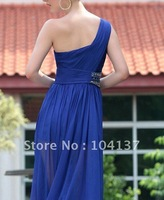 Free Shippment super Sexy blue chiffon ladies's evening dress