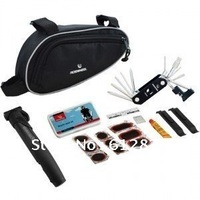 NEW Cycling Bicycle tools Bike Repair Kits Set With Bag Pouch Pump Black