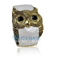Free Shipping NEW Fashion White Enamel Women's Elegant Open Owl Bracelets