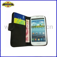 IN STOCK!!! 50pcs/lot, Black Wallet Leather Case for Samsung Galaxy S3 SIII i9300,with Black stiching --DHL Free shipping
