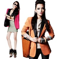Fashion spring and autumn slim medium-long suit outerwear candy color suit female plus size