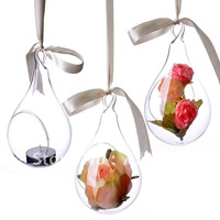 Hanging Glass Vase,Water Drop Shape vase for flower or candleholder, 4 pcs/lot, Home/Gardening Decoration, Free Shipping CY22