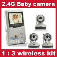 Multi camera baby monitor 2.4ghz wireless control IR night vision home security baby care camera 1 receiver 3 transmitter kits
