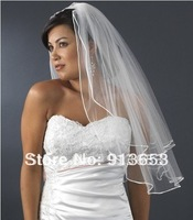 Free shipping Newest Fabulous Elegant 2 LAYERS White Cheap Edge Elbow Length Comb Bridal Accessories  Weddings & Events