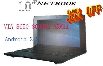 "Free Drop shipping 10 inch Mini Netbook with HDMI Slot VIA WM8850 512,4GB android 4.0 RJ45 10"" Mini laptop(China (Mainland))"