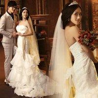 Royal princess luxury lace fish tail train bow 2822/wedding dress