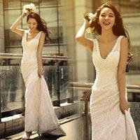 freeshipping Sexy deep V-neck slim waist and fish tail train bride wedding dress formal dress 2012 new arrival 8108