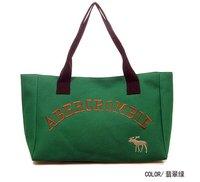 Korean Style Stylish Canvas Tote Handbags Women Green Shoulder Bag Embroidered 40x26x13cm Wholesale