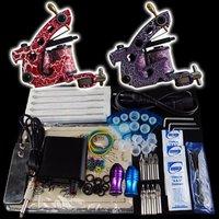 Wholesale - Beginner 2 Gun Kit Pro Tattoo Machine Gun Power Supply Foot Pedal Needles Grip Tip  K21  free shipping