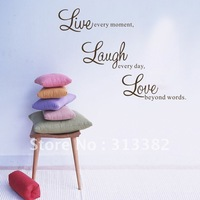 Wholesale Live Every Moment ,Laugh Every Day ,Love Beyond Words Wall Sticker Free shipping