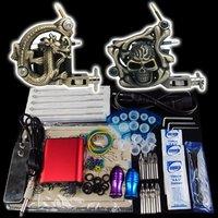Wholesale - Beginner 2 Gun Kit Pro Tattoo Machine Gun Power Supply Foot Pedal Needles Grip Tip  K17  free shipping