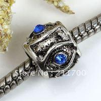 5pcs Evil Eye Blue Crystal Drum Bead Fit Charm Bracelet European