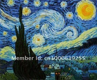 Reproduction 100% Handmade Oil Painting Canvas Van Gogh Starry Night Free Shipping to Any Country /sa-116-1