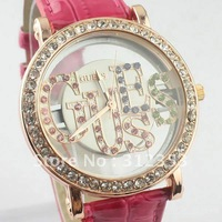10pcs  fashion Crystal fashion quartz watch,crystal  wrist watch leather band + free shipping