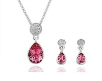 Min. order $15(mixed) 18K Gold Plated Crystal Ruby Jewelry Set Austrian SWA  Crystal new