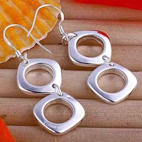 Min.order is $15(mix) E024 hot sale!Free shipping silver double square earring.fashion jewelry  Drop Earrings wholesale