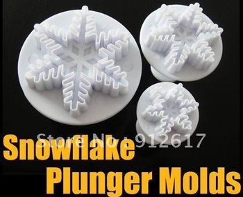 60pcs snowflake snow cake fondant cutter decorating sugarcraft plunger mold mould
