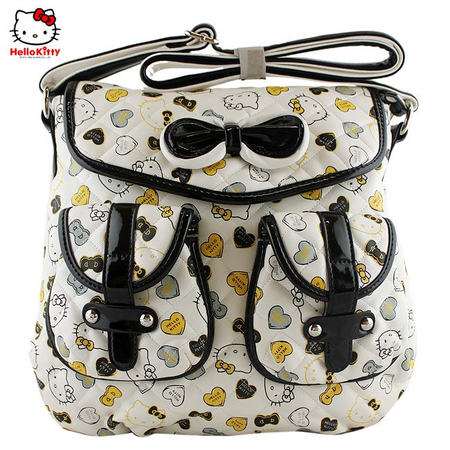 Hello Kitty black BIG tote bag handbag Backpack Student School Bag School White Children Free Shipping(China (Mainland))