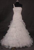 Beautiful appliqued one shoulder A-line floor-length actual wedding dress