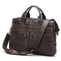 Free Shipping Wholesale 5PCS/Lot Genuine Vintage Leather Men's Dark Coffee Briefcase Laptop Bag Messenger Handbag #7122C