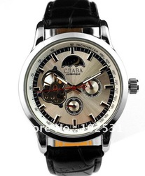Fast Shipping Fashion Style Silver Dial Automatic Mechanical Cjiaba watch 12/24H Tourbillon Black Leather Band Water Resistant(China (Mainland))