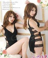Сексуальная ночная сорочка Women sexy lingerie sexy underwear tulle transparent lace rope leotard black 2027
