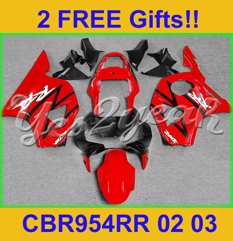 Black RED ABS Aftermarket Motorcycle Plastic Fairing For Honda CBR900RR CBR 954RR 02 03 CBR954RR 2002 2003 Bodywork AI07(China (Mainland))