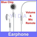 100 pc/lot High Quality Stereo Earphone Headphone with Real Mic Volume Control for Apple iPad iPhone 4S 4G iPod + Free Shipping