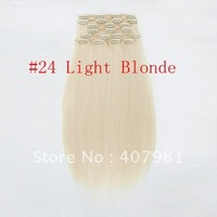 kanekalon synthetic hair   for women synthetic hair extensions 18 20 22 24 inch blonde #24 Light Blonde 10pcs140g set