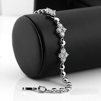 Cubic Zirconia CZ Tennis Bracelet 17.5cm Flower Free Shipping