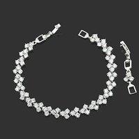 Fashion Jewelry Lady Gift Clear Quartz Stone White Gold GP Bracelet Hand Chain 17cm