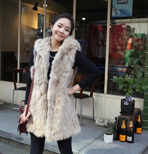 858#2011 Korean installed new artificial rabbit fur Leopard-like shawl vest keep warm autumn and winter coats fur vest 2-colors