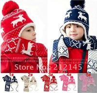 2012 NEW winter hat,Popular Plus cashmere buckles children 's ear knitted hat( 23.5*27cm) Boys&Girls hat Christmas gift