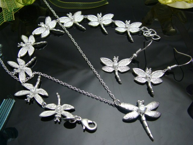 10$ off per 100$ order Women jewelry sets fashion silver plated dragonfly TAg set.wholesale factory price Free shipping.(China (Mainland))