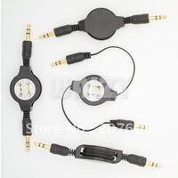 50pcs/lot !Retractable 3.5 mm  gilding Audio line Extension Cable M/M, Black