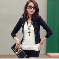 FREE SHIPPING!! Plus size clothing 2014 spring and autumn ol rivet long-sleeve blazer mm plus size short jacket