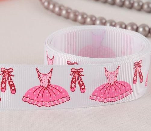 "Free shipping 7/8"" Ballet Shoes Grosgrain ribbon, print ribbon,ribbon for hair bow polyester ribbon,WHITE(China (Mainland))"