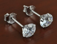 latest design best selling newest styles 1 pair 6.5mm 925 Sterling Silver Round white CZ Stud Prong Set Earrings