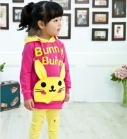 Autumn new style!Children's hoodie with lovely rabbit,baby girl's long sleeve coat 5pcs/lot