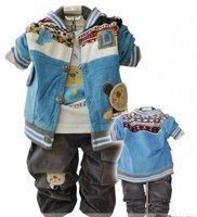 baby boys suit 3pcs/Set hoody coat+shirt+Pant trouses kids children clothing outfit 4 sets/lot cotton  ZSS free shipping