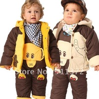 Thicker winter baby clothing overalls cotton suits /baby clothes  jacket + piece pants