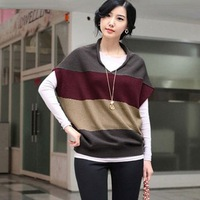 # 2014 in autumn 3109 the new elegance tri-color stripes flying squirrel sleeve knit shirt - blue