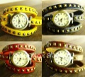 12pcs/lot Vintage Bronze Lady Stud Leather Wrap Around Watch , 6 colors to pick from .WW025