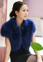(Free shipping) 2012 autumn Women fox fur vest fur stand collar outerwear top