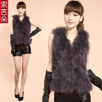 (Free shipping) Genuine leather 2014 autumn ostrich wool vest women's vest outerwear turkey wool vest fur
