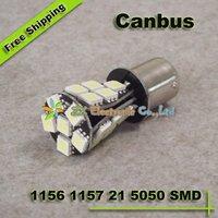 10pcs/lot + Car Canbus No OBC Error S25 1156 BA15S BAU15S 1157 BAY15D BA15D 21 5050 SMD LED Turn Brake  Parking Light Bulbs