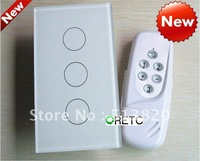 3 gang touch wall switch with wireless remote control, wall light switch 3 way, crystal glass panel,US model