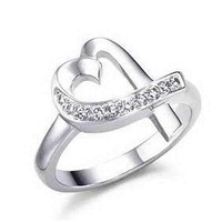 Min.order is $15(mix) R036 Heart ! High Quality,  silver heart ring. fashion jewellry silver rings