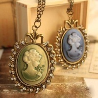 Wholesales Europe and America Original Single Retro Queen's Silhouette Embossment Palace Necklaces 12pcs/lot Free Shipping
