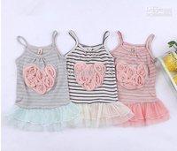 Free Shipping  2014 Children girls girl striped yarn flower harness dress